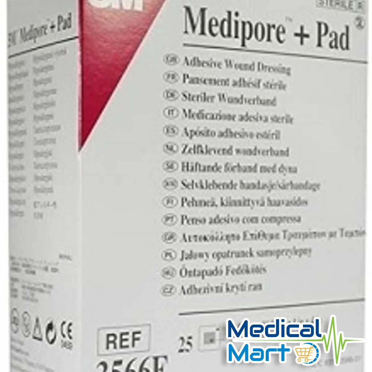 3m Medipore + Pad Soft Cloth Adhesive Wound Dressing, 3566e (10cm x 10cm)