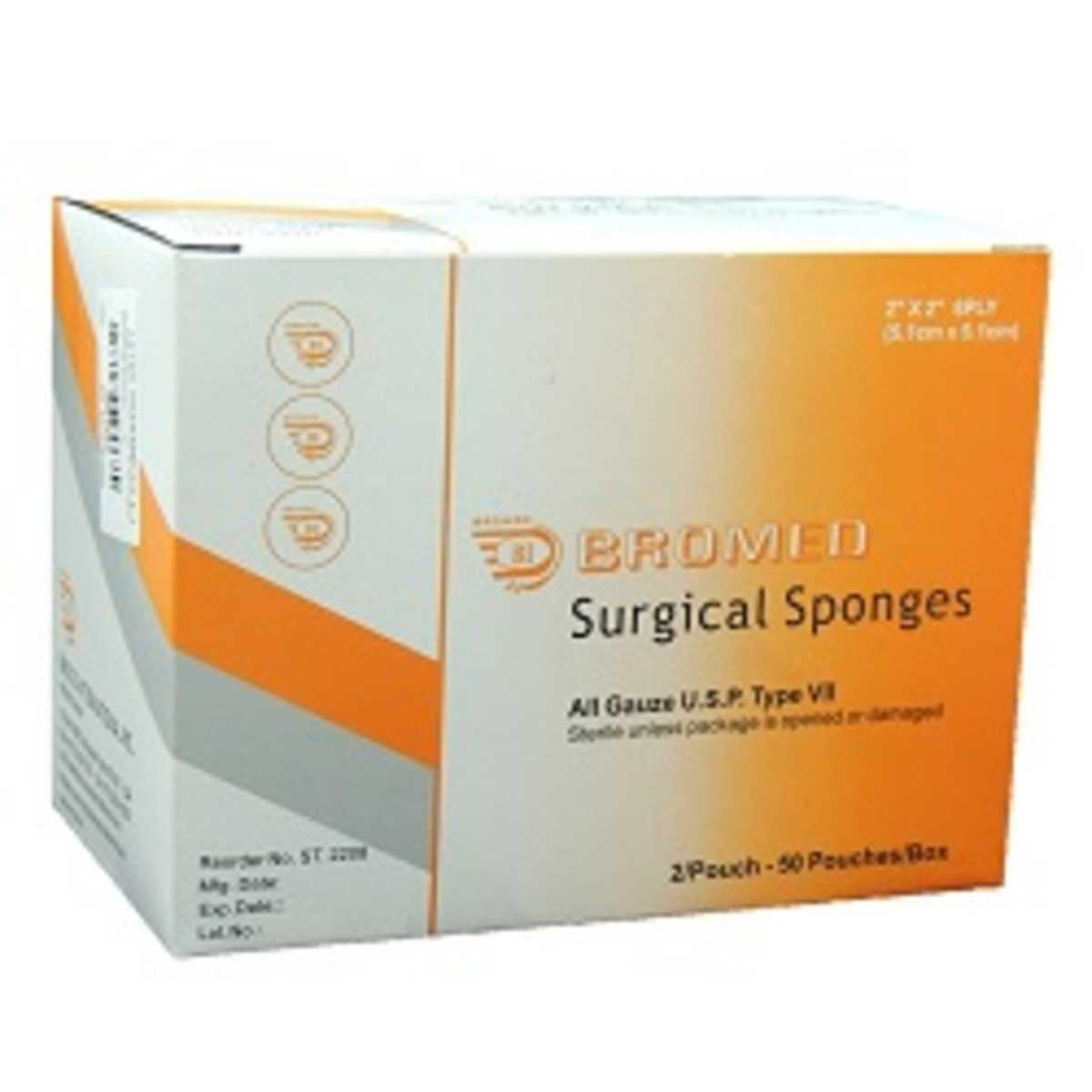 Sterile Surgical Sponges, 5.1cm x 5.1cm - 8ply