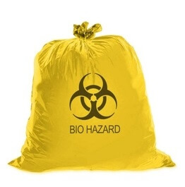 Biohazard Medical Waste Garbage Bag, Yellow (30cm x 60cm)