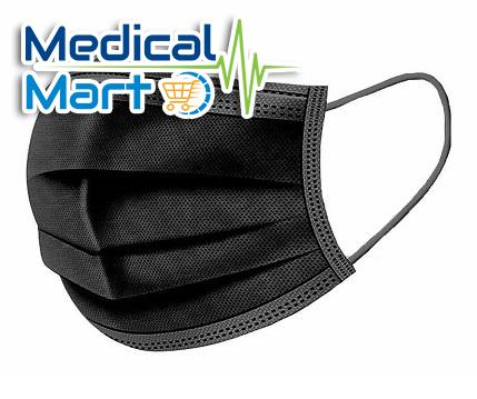 Black Face Mask, Earloop, 3Ply, 50\'s