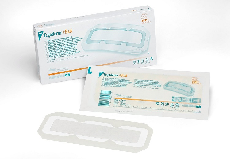 3M Tegaderm +Pad Film Dressing with Non-Adherent Pad 3591
