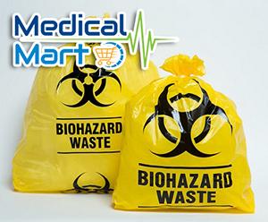 Biohazard Medical Waste Garbage Bag, Yellow (47x100cm)