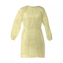 PPE Isolation Gown, Yellow, Universal Size, 30GSM