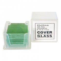 Microscope Slide Cover Glass, 2.2cmX2.2cm (22x22mm), 0.13-0.16mm Thickness; 100\'s / Pck